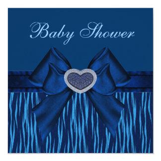 Blue Animal Print, Bow & Jewel Heart Baby Shower Invites