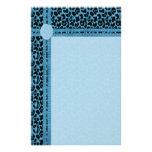 Blue Animal Print Customized Stationery