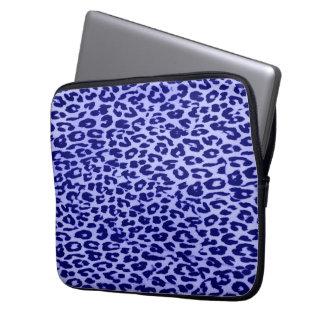 Blue animal print fur of leopard computer sleeve