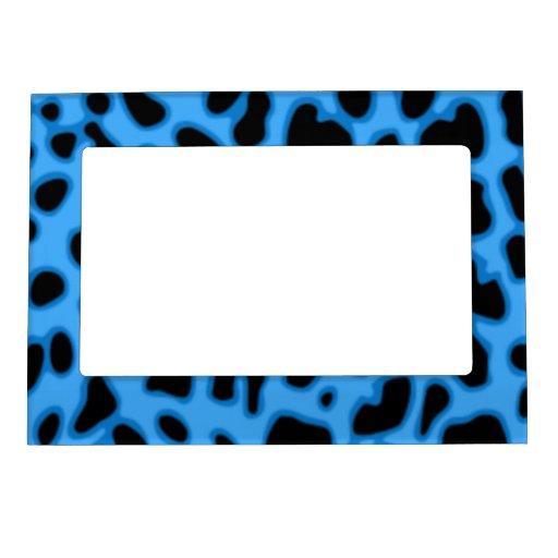 Blue Animal Print Magnetic Fridge Picture Frame Frame Magnet : Zazzle