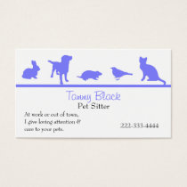 Blue Animal Silhouettes Pet Care Business Card