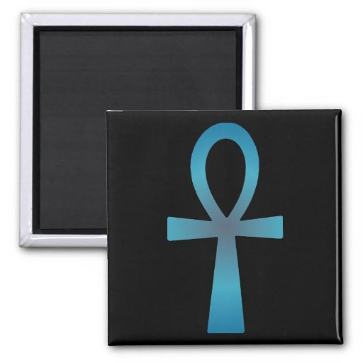 Blue Ankh 2 Inch Square Magnet