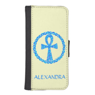 Blue Ankh Ancient Egypt Wicca Art Phone Wallet