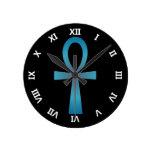 Blue Ankh Round Wall Clock