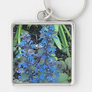 Blue Annuals Silver-Colored Square Keychain