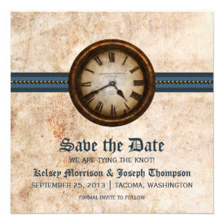 Blue Antique Clock Save the Date Announcement