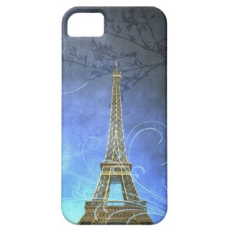 Blue Antique Eiffel Tower iPhone Case