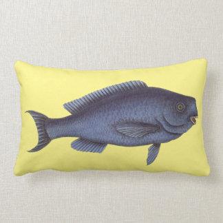 Blue antique fish vintage pillow