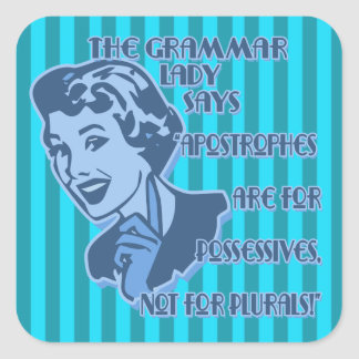 Blue Apostrophes Square Stickers