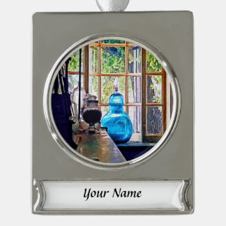 Blue Apothecary Bottle Silver Plated Banner Ornament