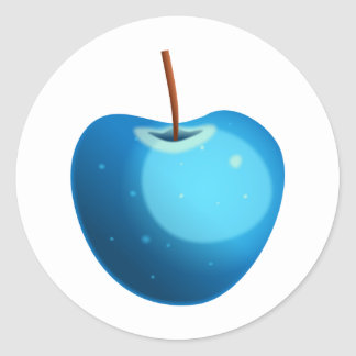 Blue Apple Classic Round Sticker