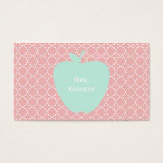 Teachers appreciation business cards templates zazzle blue apple coral quatrefoil teacher business card reheart Gallery