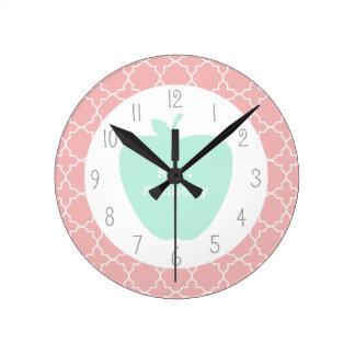 Blue Apple Coral Quatrefoil Teacher Round Clock
