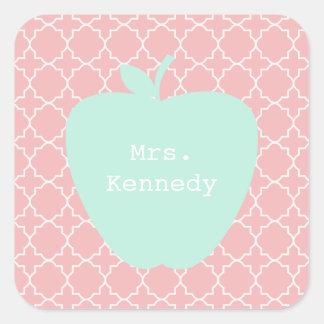 Blue Apple Coral Quatrefoil Teacher Square Sticker