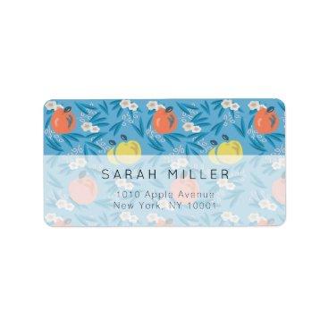 Beach Themed Blue Apple Floral Pattern Teacher Address Label
