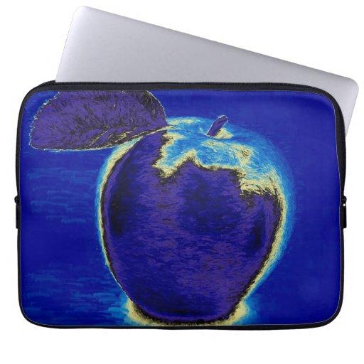 Blue Apple Laptop Computer Sleeve   Zazzle