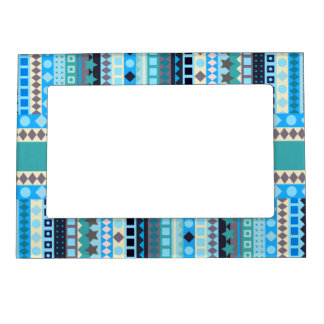 Blue, Aqua and Green Cool Colors ZigZag Stripes Magnetic Photo Frame