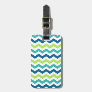 Blue Aqua and Lime Multi Chevron Stripes Luggage Tag