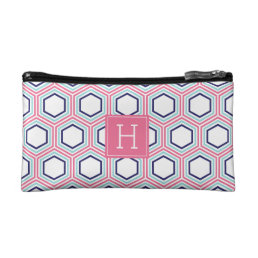 Blue Aqua and Pink Geometric Pattern Monogrammed Makeup Bag
