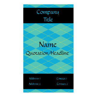 Blue & Aqua Argyle Double-Sided Standard Business Cards (Pack Of 100)