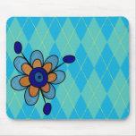 Blue & Aqua Argyle & Flower Mouse Pads