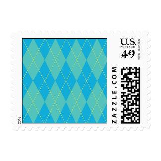 Blue Aqua Argyle Postage Stamps