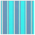 [ Thumbnail: Blue, Aqua & Bisque Lines/Stripes Pattern Fabric ]