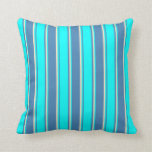 [ Thumbnail: Blue, Aqua & Bisque Lines/Stripes Pattern Pillow ]
