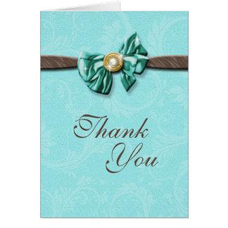 Blue aqua brown gem bow floral cards