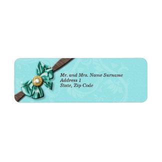 Blue aqua brown gem bow floral label