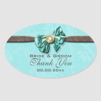 Blue aqua brown gem bow floral oval sticker