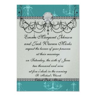 blue aqua chandelier damask pattern card