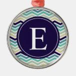 Blue Aqua Chevron Monogram Ornament