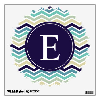 Blue Aqua Chevron Monogram Wall Decal