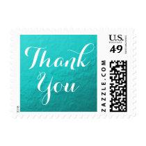 Blue Aqua Foil | Wedding Thank You Stamp
