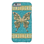 Blue Aqua Glitter Golden Butterfly Barely There iPhone 6 Case