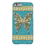 Blue Aqua Glitter Golden Butterfly iPhone 6 Case