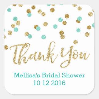 Blue Aqua Gold Confetti Bridal Shower Favor Tags Square Sticker