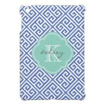 Blue & Aqua Greek Key Custom Monogram Cover For The iPad Mini
