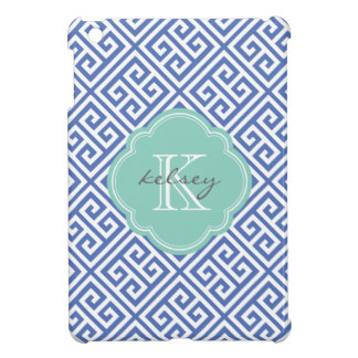Blue & Aqua Greek Key Custom Monogram iPad Mini Covers