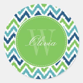 Blue Aqua Green Zigzag Ikat Pattern Monogram Classic Round Sticker