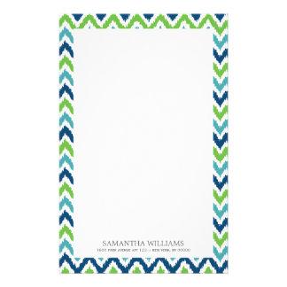 Blue Aqua Green Zigzag Ikat Pattern Customized Stationery
