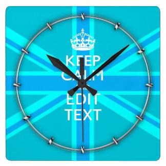Blue Aqua Keep Calm And Your Text Union Jack Square Wall Clock
