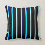 [ Thumbnail: Blue, Aqua, Light Cyan & Black Colored Pattern Throw Pillow ]