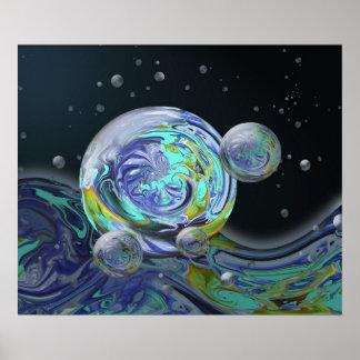 Blue & Aqua Planet Reflections Poster Print
