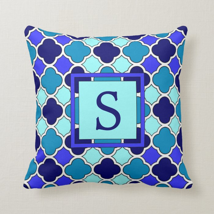 Blue And Aqua Throw Pillows : Blue & Aqua Quatrefoil Monogram Throw Pillow Zazzle