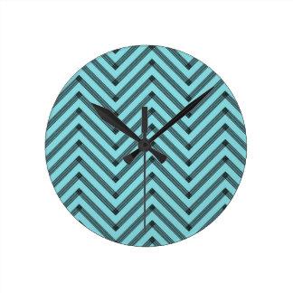 blue aqua robin egg light chevron pattern sketchy  round clock