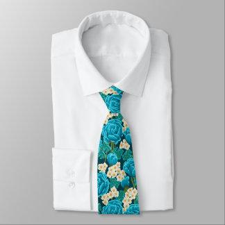 Blue aqua rose floral hand painted pattern neck tie