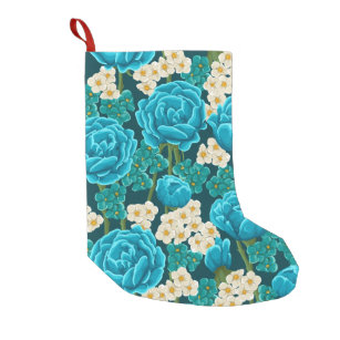 blue aqua rose floral hand painted pattern small christmas stocking - Blue Christmas Stockings