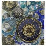 Blue aqua steampunk gears, cogs, clock faces print printed napkin